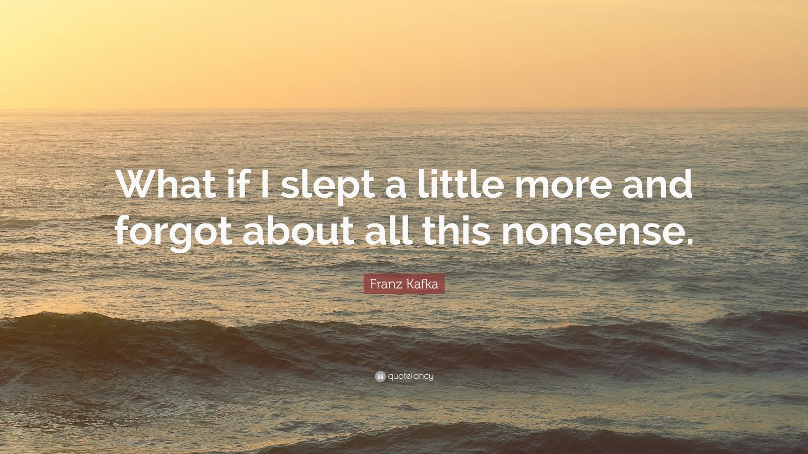 """Franz Kafka Quote: """"What if I slept a little more and forgot about all this nonsense."""""""