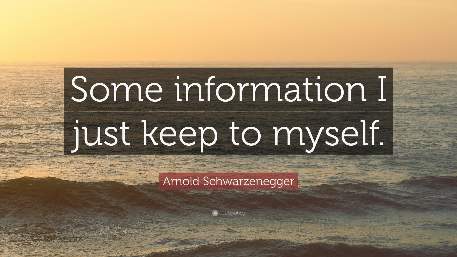 """Arnold Schwarzenegger Quote: """"Some information I just keep to myself."""""""
