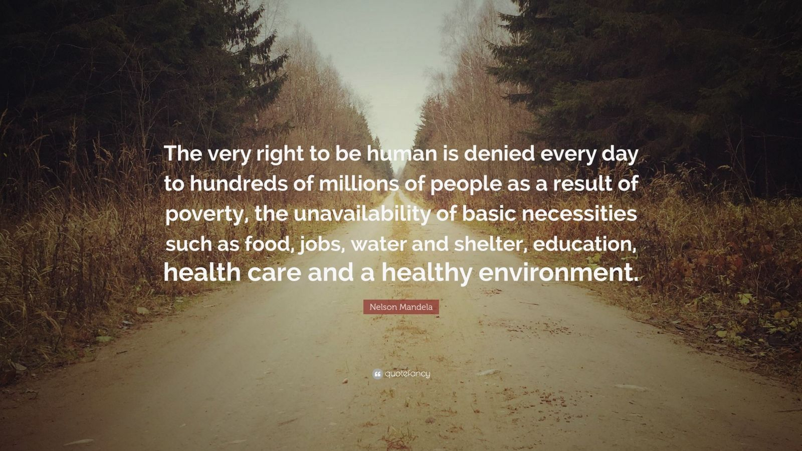 "Nelson Mandela Quote: ""The very right to be human is denied every day to hundreds of millions of people as a result of poverty, the unavailability of basic necessities such as food, jobs, water and shelter, education, health care and a healthy environment."""