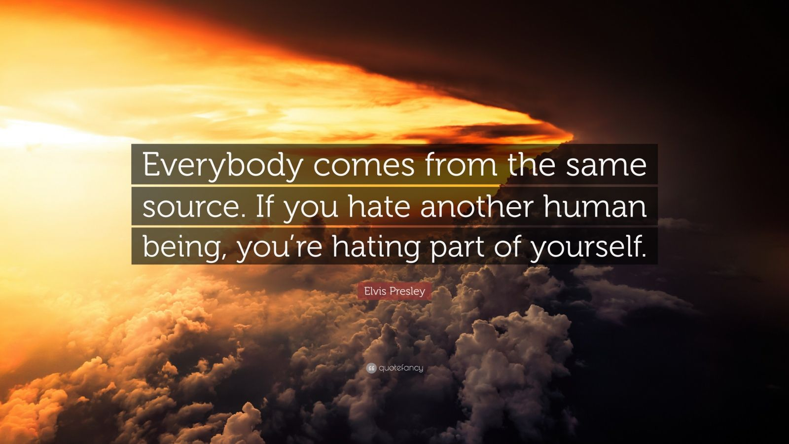 "Elvis Presley Quote: ""Everybody comes from the same source. If you hate another human being, you're hating part of yourself."""