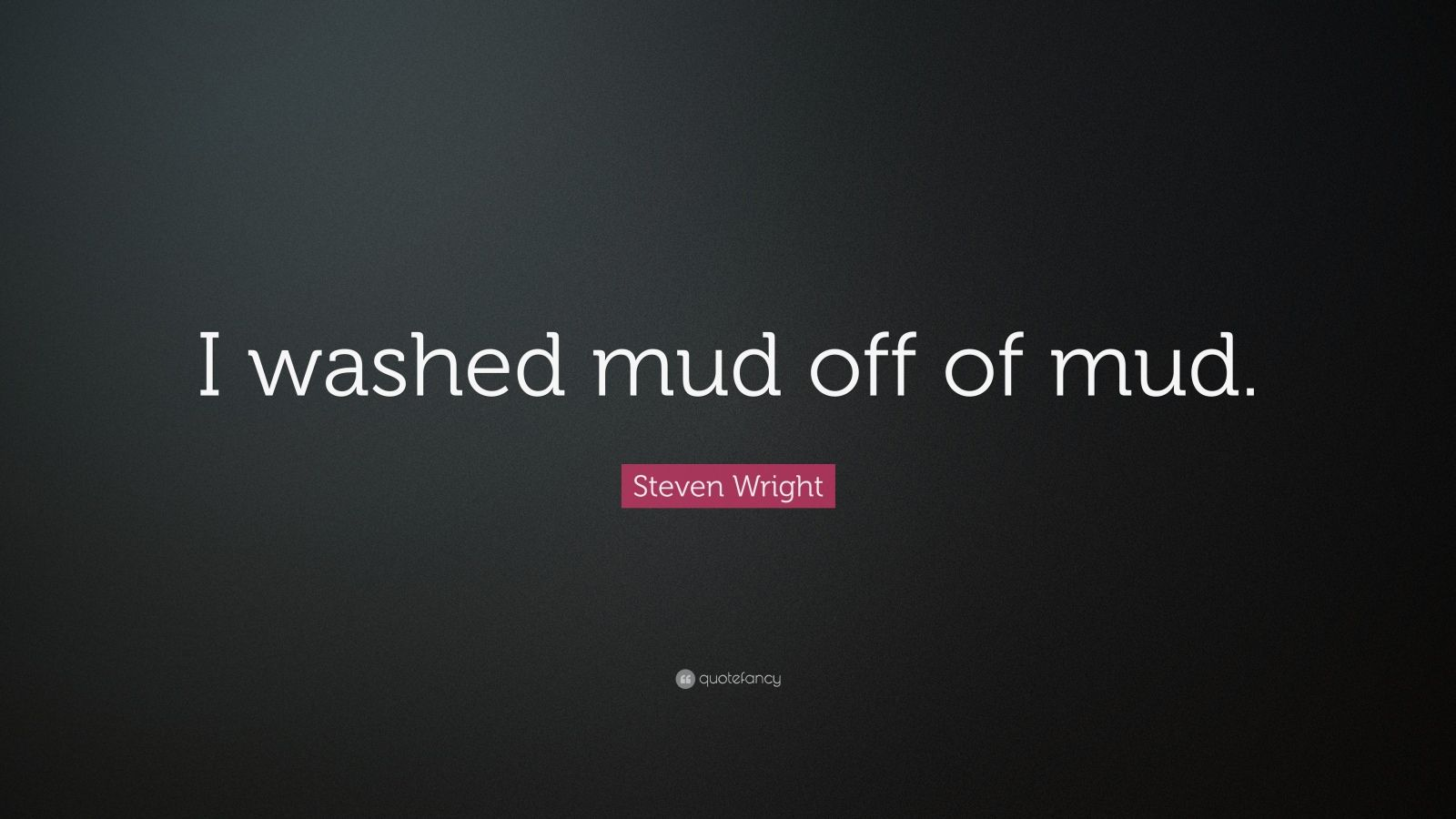 """Steven Wright Quote: """"I washed mud off of mud."""""""