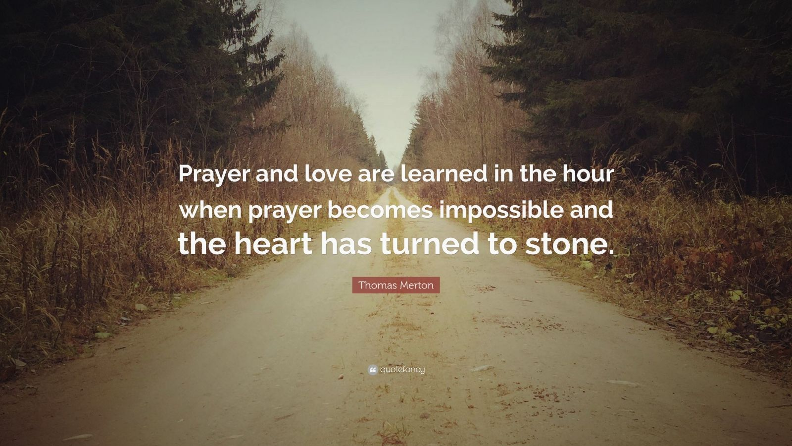 """Thomas Merton Quote: """"Prayer and love are learned in the hour when prayer becomes impossible and the heart has turned to stone."""""""