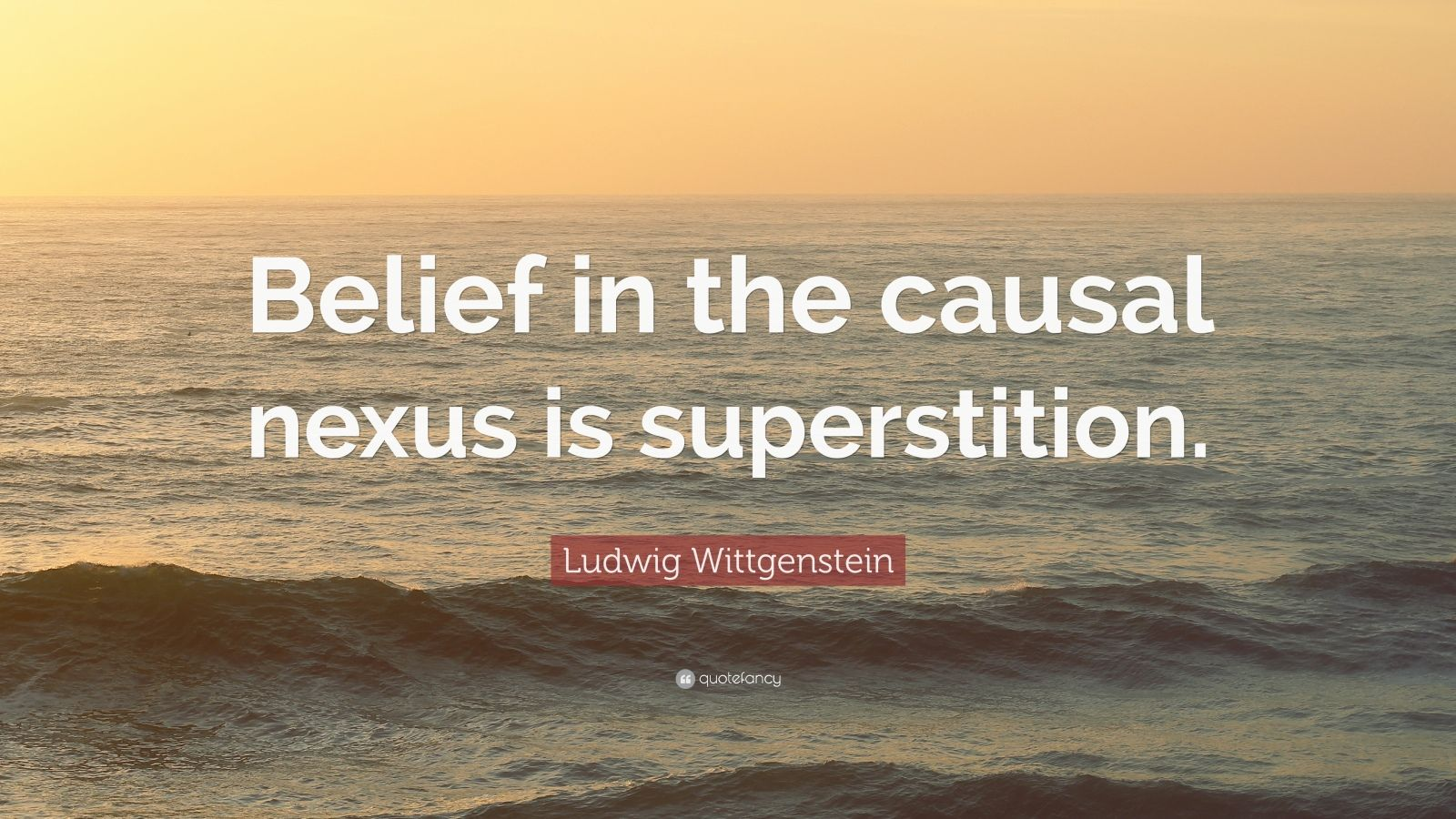 "Ludwig Wittgenstein Quote: ""Belief in the causal nexus is superstition."""