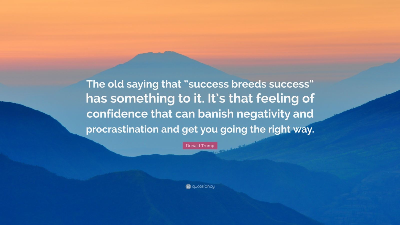 "Donald Trump Quote: ""The old saying that ""success breeds success"" has something to it. It's that feeling of confidence that can banish negativity and procrastination and get you going the right way."""