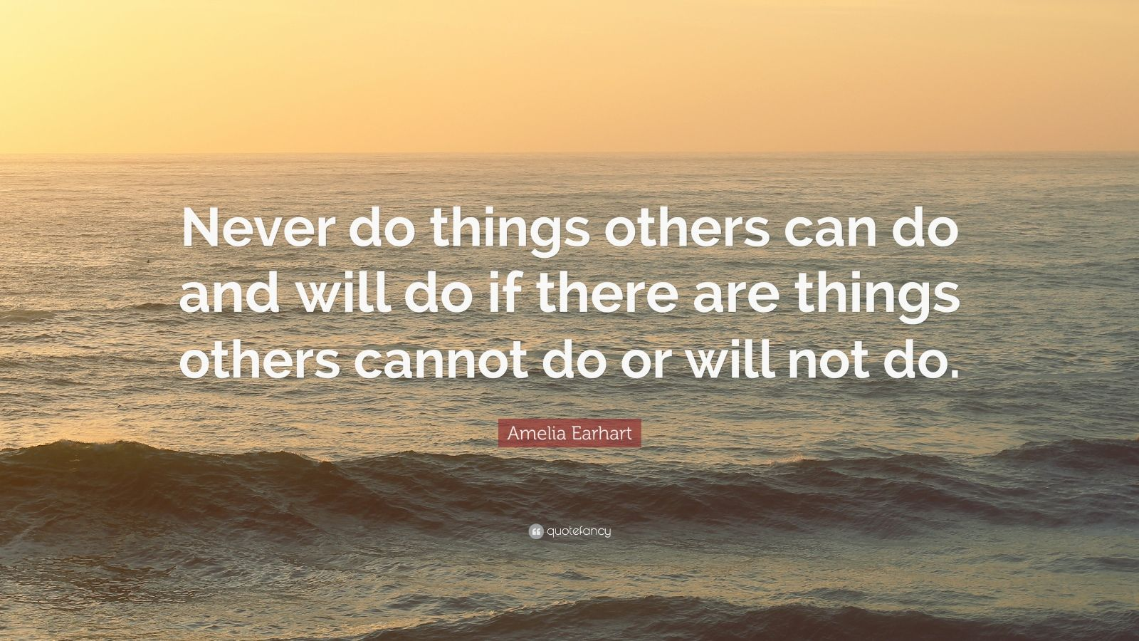 "Amelia Earhart Quote: ""Never do things others can do and will do if there are things others cannot do or will not do."""
