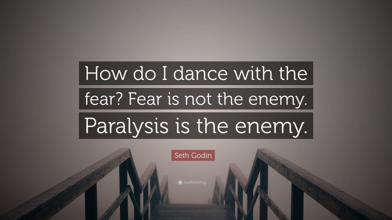 """Seth Godin Quote: """"How do I dance with the fear? Fear is not the enemy. Paralysis is the enemy."""""""