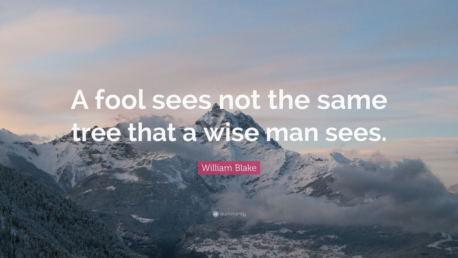 "William Blake Quote: ""A fool sees not the same tree that a wise man sees."""