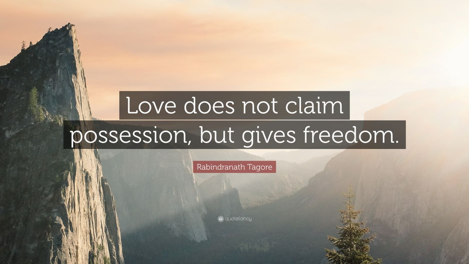 "Rabindranath Tagore Quote: ""Love does not claim possession, but gives freedom."""
