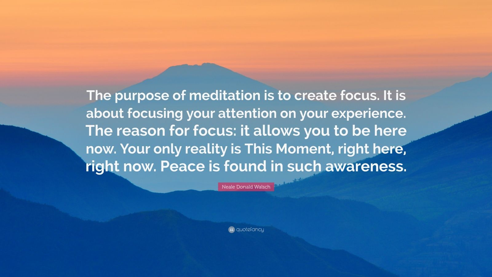 "Neale Donald Walsch Quote: ""The purpose of meditation is to create focus. It is about focusing your attention on your experience. The reason for focus: it allows you to be here now. Your only reality is This Moment, right here, right now. Peace is found in such awareness."""