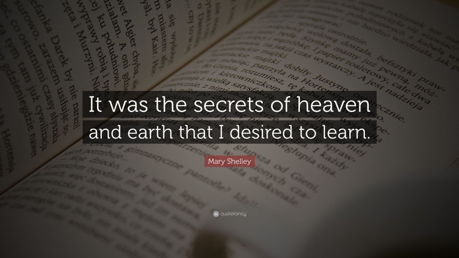 """Mary Shelley Quote: """"It was the secrets of heaven and earth that I desired to learn."""""""