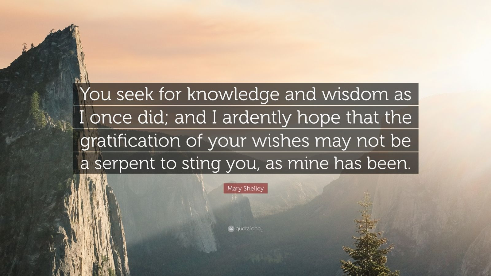 "Mary Shelley Quote: ""You seek for knowledge and wisdom as I once did; and I ardently hope that the gratification of your wishes may not be a serpent to sting you, as mine has been."""
