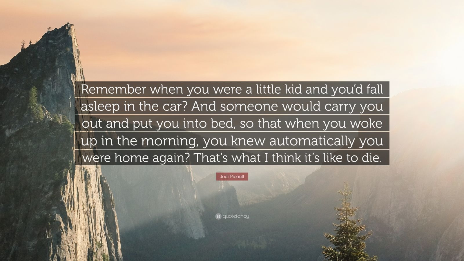 "Jodi Picoult Quote: ""Remember when you were a little kid and you'd fall asleep in the car? And someone would carry you out and put you into bed, so that when you woke up in the morning, you knew automatically you were home again? That's what I think it's like to die."""