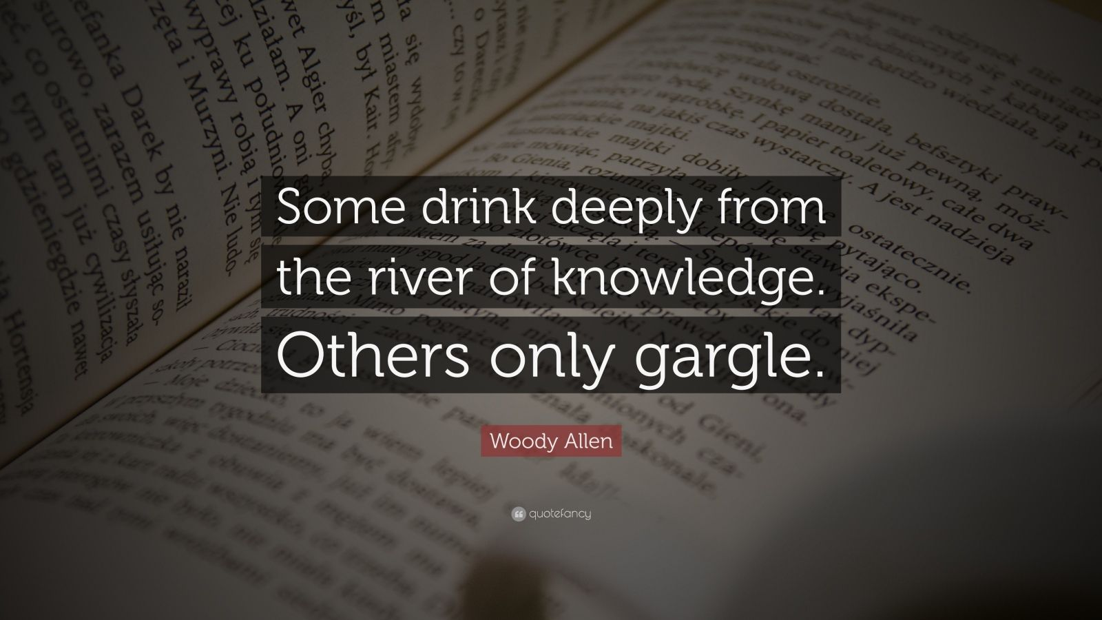 "Woody Allen Quote: ""Some drink deeply from the river of knowledge. Others only gargle."""