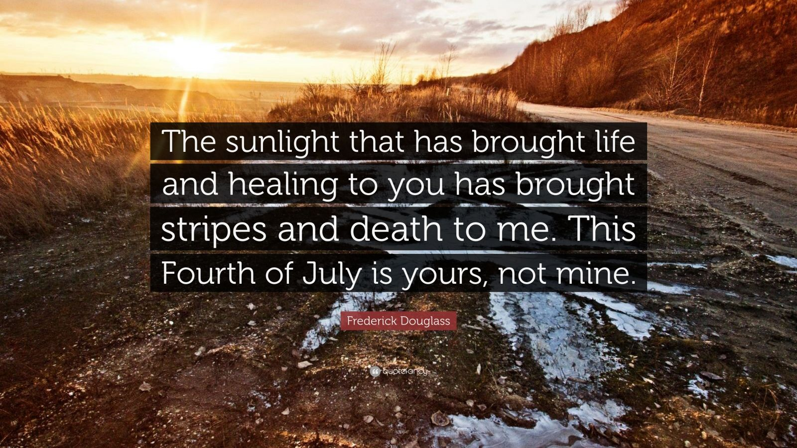 "Frederick Douglass Quote: ""The sunlight that has brought life and healing to you has brought stripes and death to me. This Fourth of July is yours, not mine."""