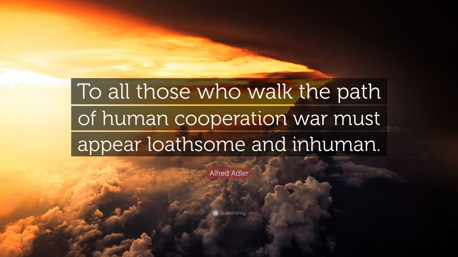 """Alfred Adler Quote: """"To all those who walk the path of human cooperation war must appear loathsome and inhuman."""""""