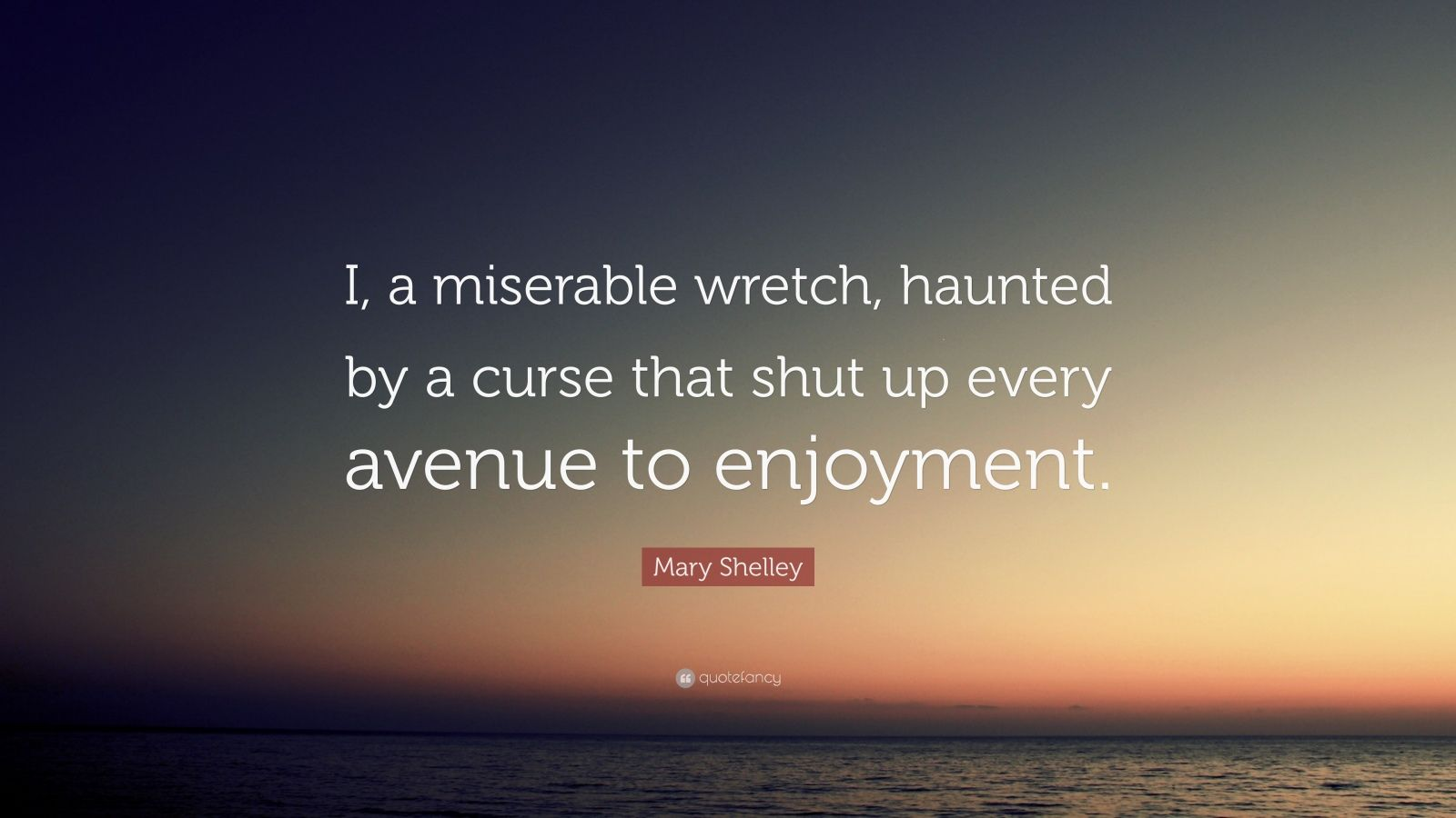 "Mary Shelley Quote: ""I, a miserable wretch, haunted by a curse that shut up every avenue to enjoyment."""