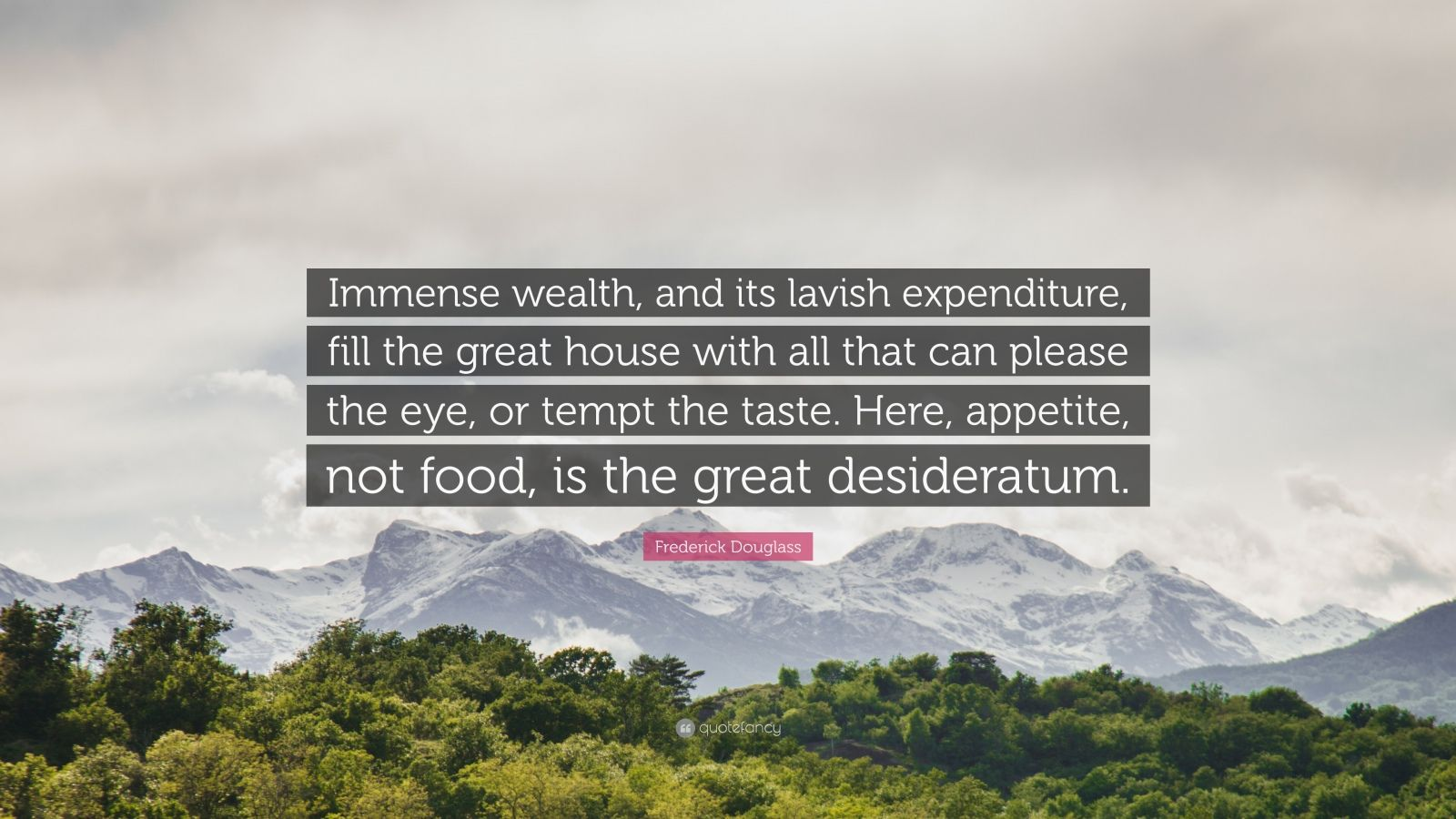 """Frederick Douglass Quote: """"Immense wealth, and its lavish expenditure, fill the great house with all that can please the eye, or tempt the taste. Here, appetite, not food, is the great desideratum."""""""