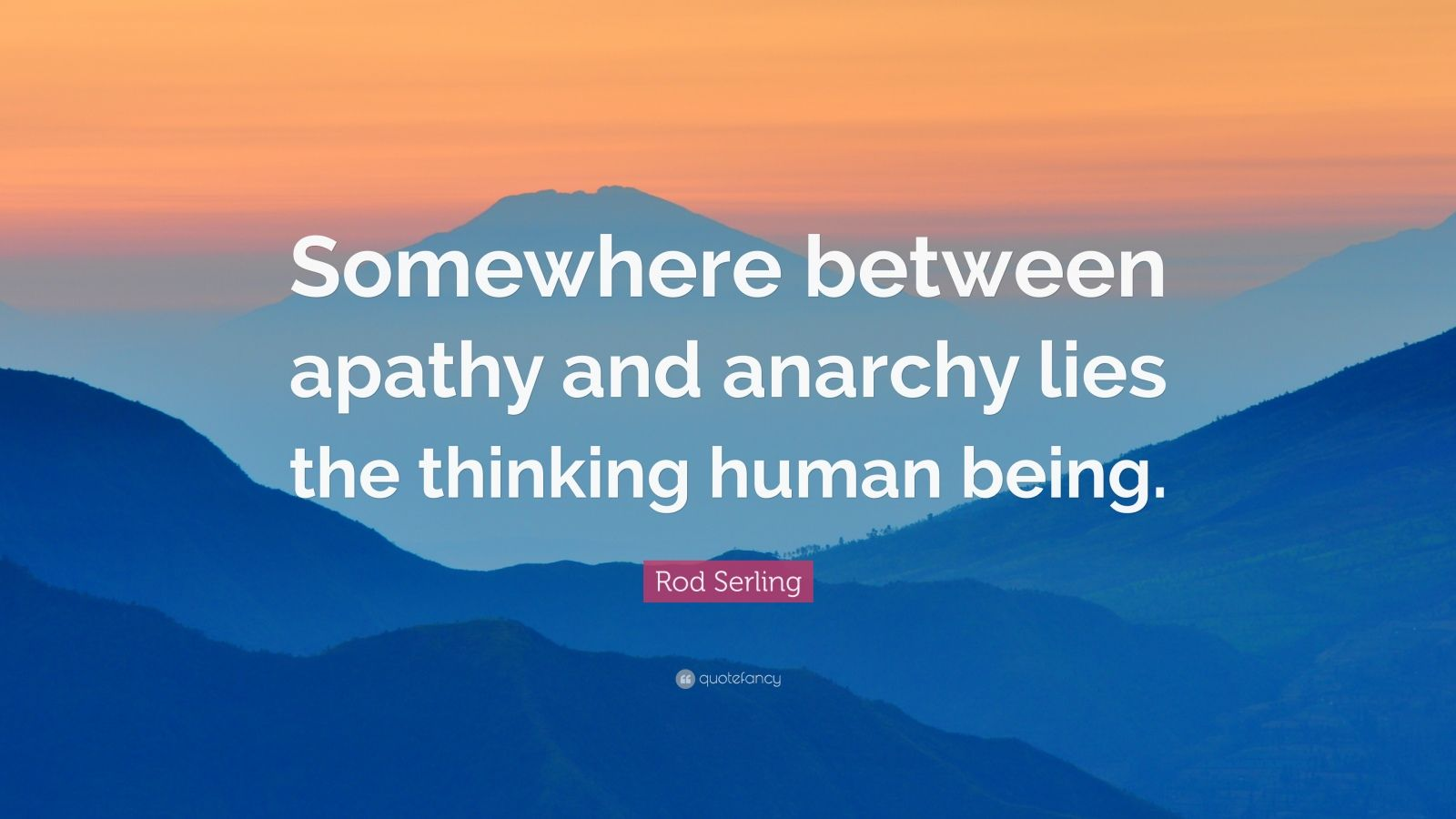 "Rod Serling Quote: ""Somewhere between apathy and anarchy lies the thinking human being."""