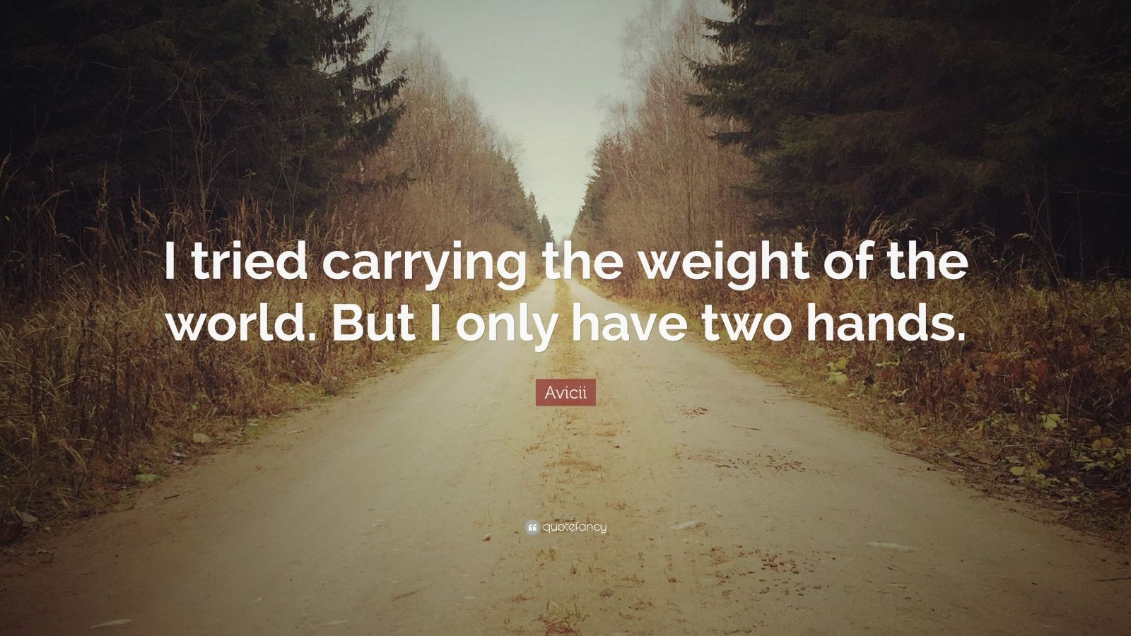 """Avicii Quote: """"I Tried Carrying The Weight Of The World"""
