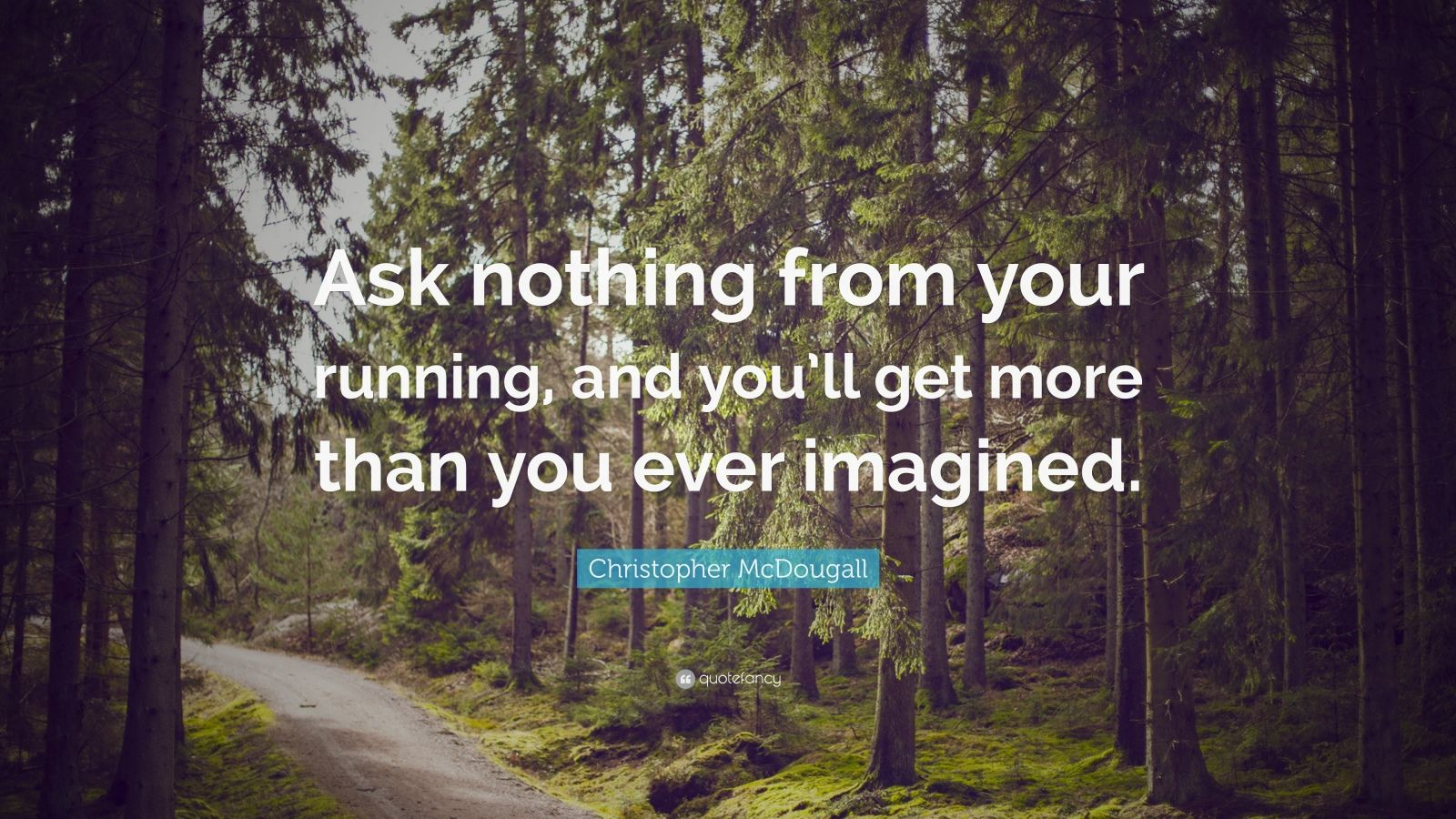 "Christopher McDougall Quote: ""Ask nothing from your running, and you'll get more than you ever imagined."""