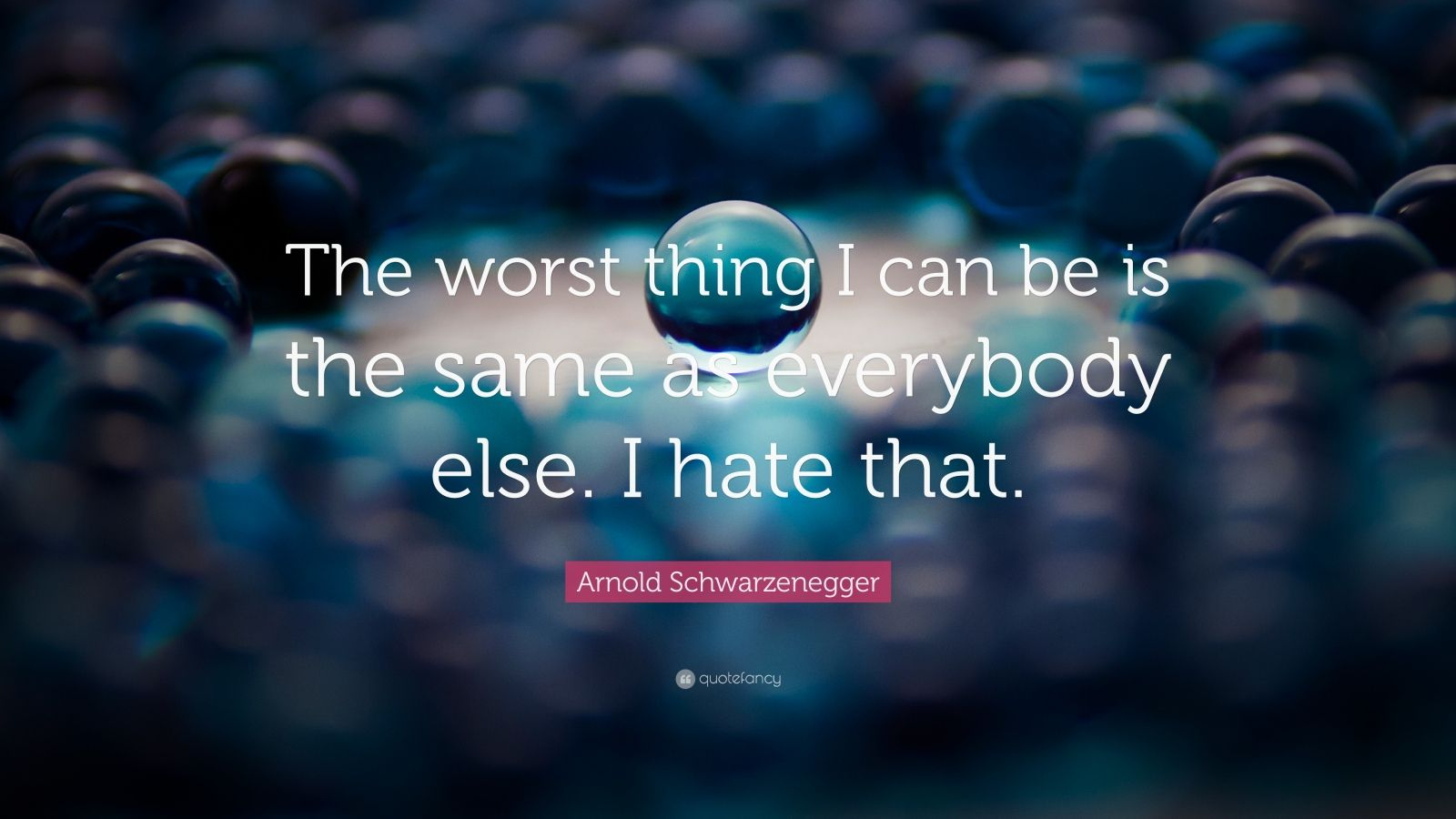 "Arnold Schwarzenegger Quote: ""The worst thing I can be is the same as everybody else. I hate that."""