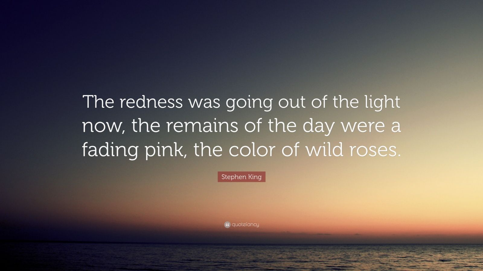 """Stephen King Quote: """"The redness was going out of the light now, the remains of the day were a fading pink, the color of wild roses."""""""