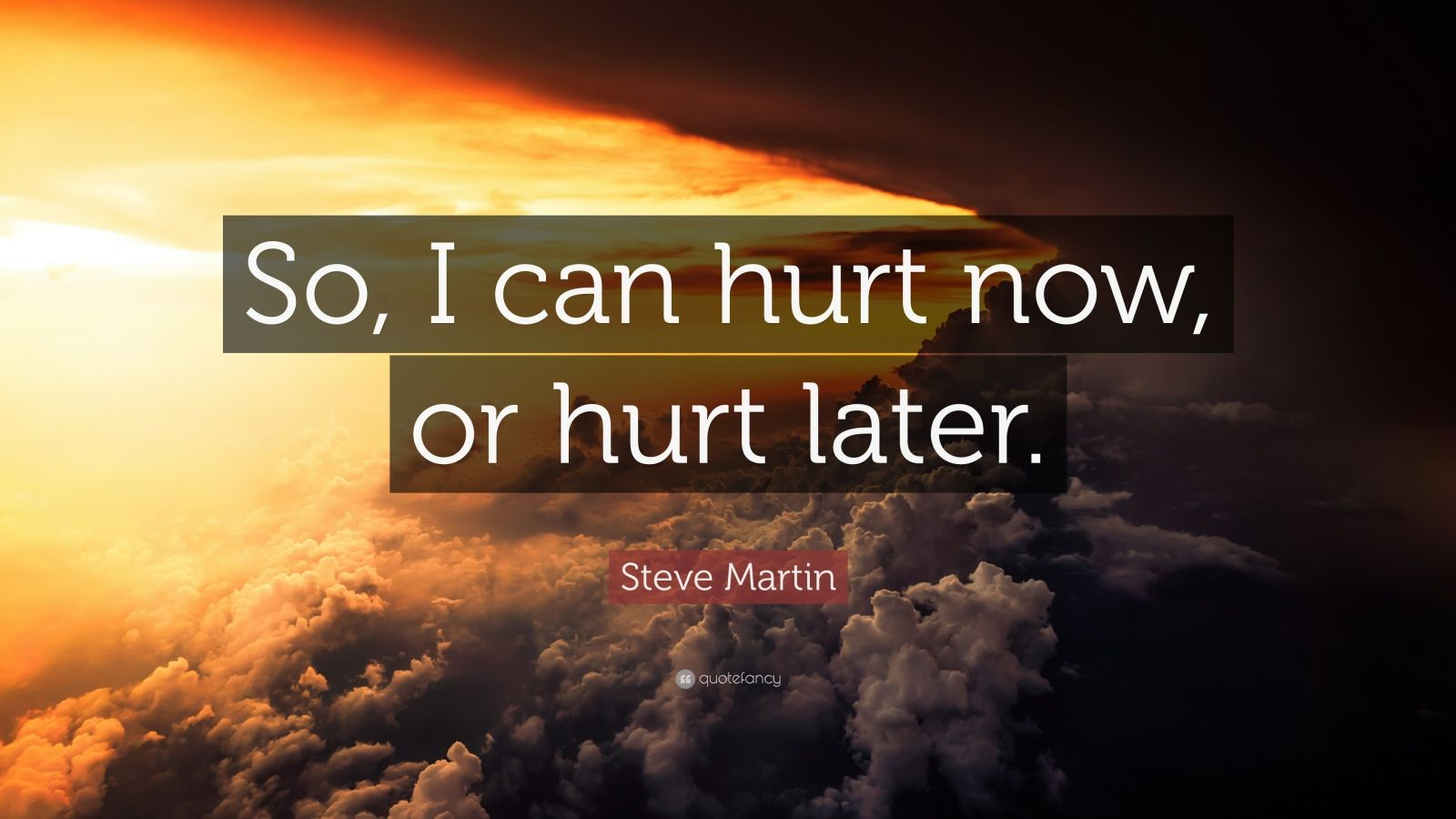 """Steve Martin Quote: """"So, I can hurt now, or hurt later."""""""