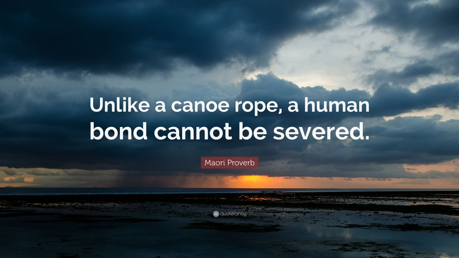 "Maori Proverb Quote: ""Unlike a canoe rope, a human bond cannot be severed."""