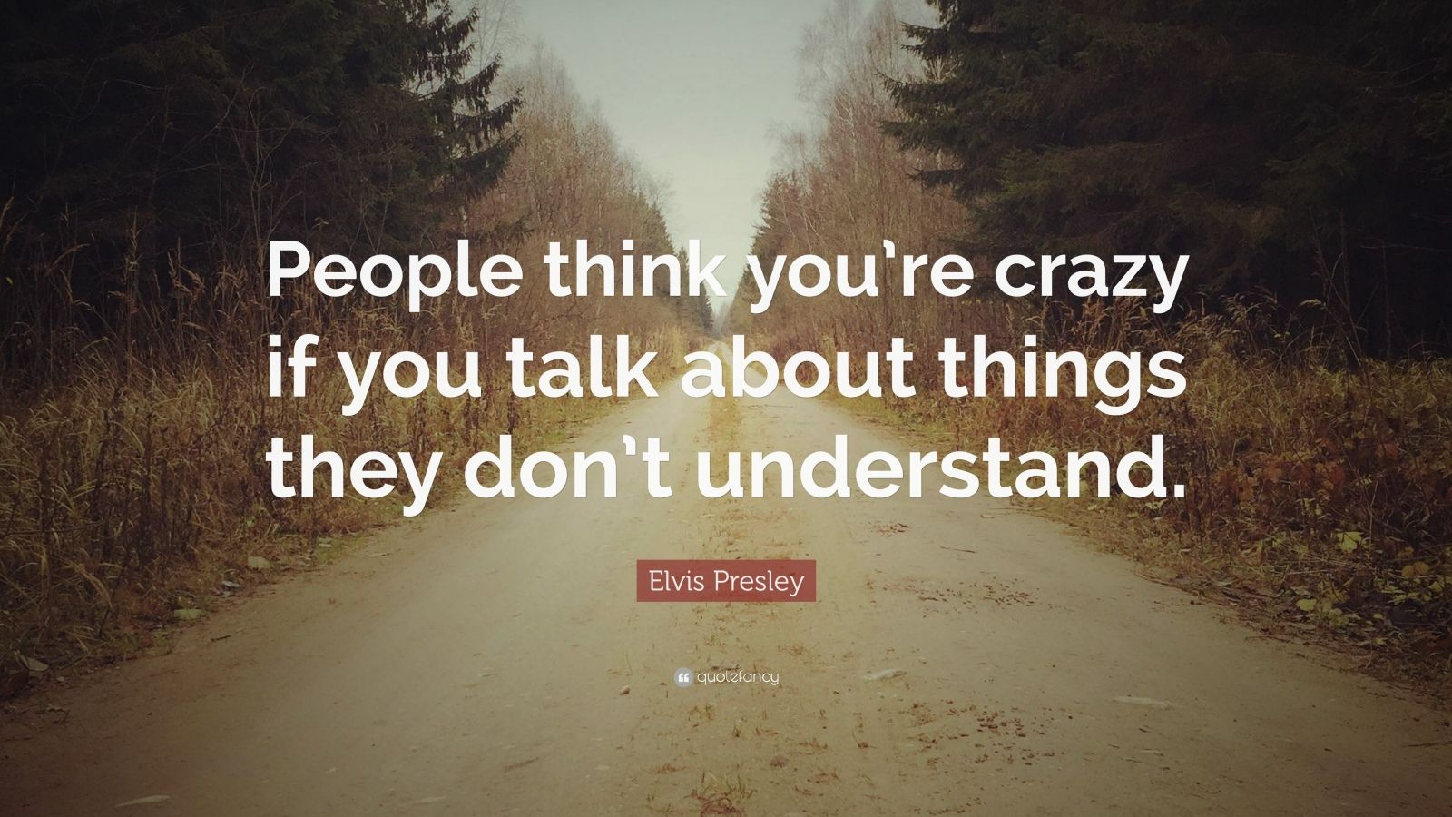 """Elvis Presley Quote: """"People think you're crazy if you talk about things they don't understand."""""""