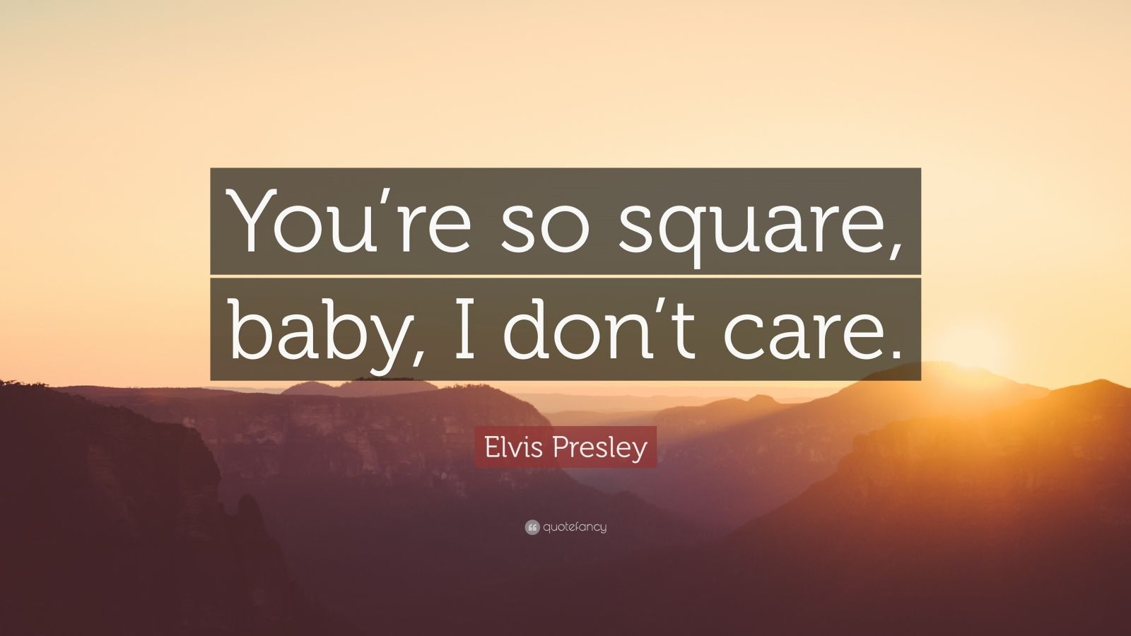 "Elvis Presley Quote: ""You're so square, baby, I don't care."""