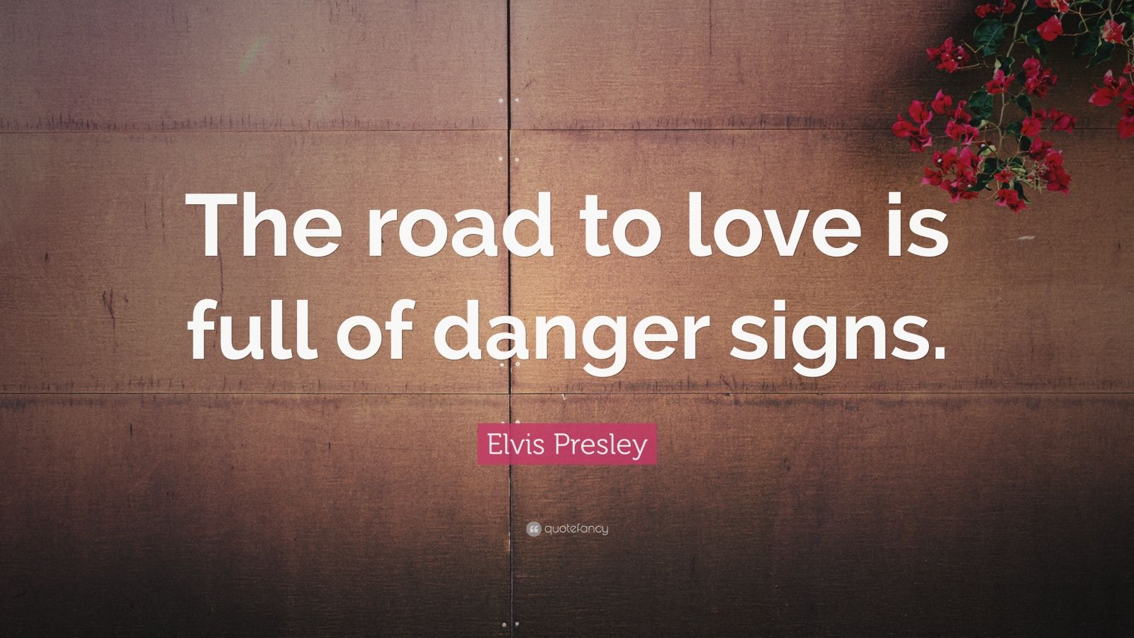 "Elvis Presley Quote: ""The road to love is full of danger signs."""