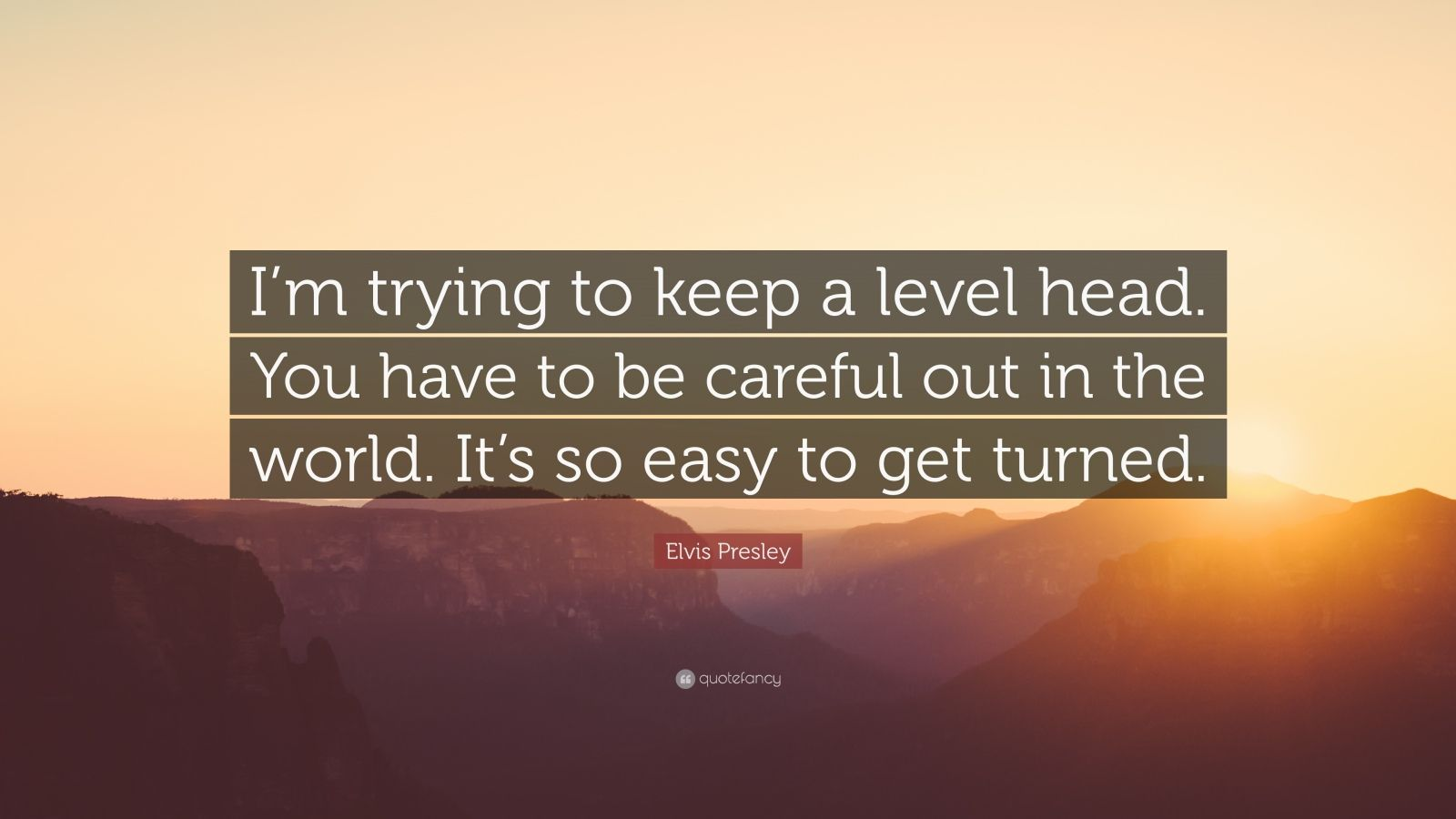 "Elvis Presley Quote: ""I'm trying to keep a level head. You have to be careful out in the world. It's so easy to get turned."""