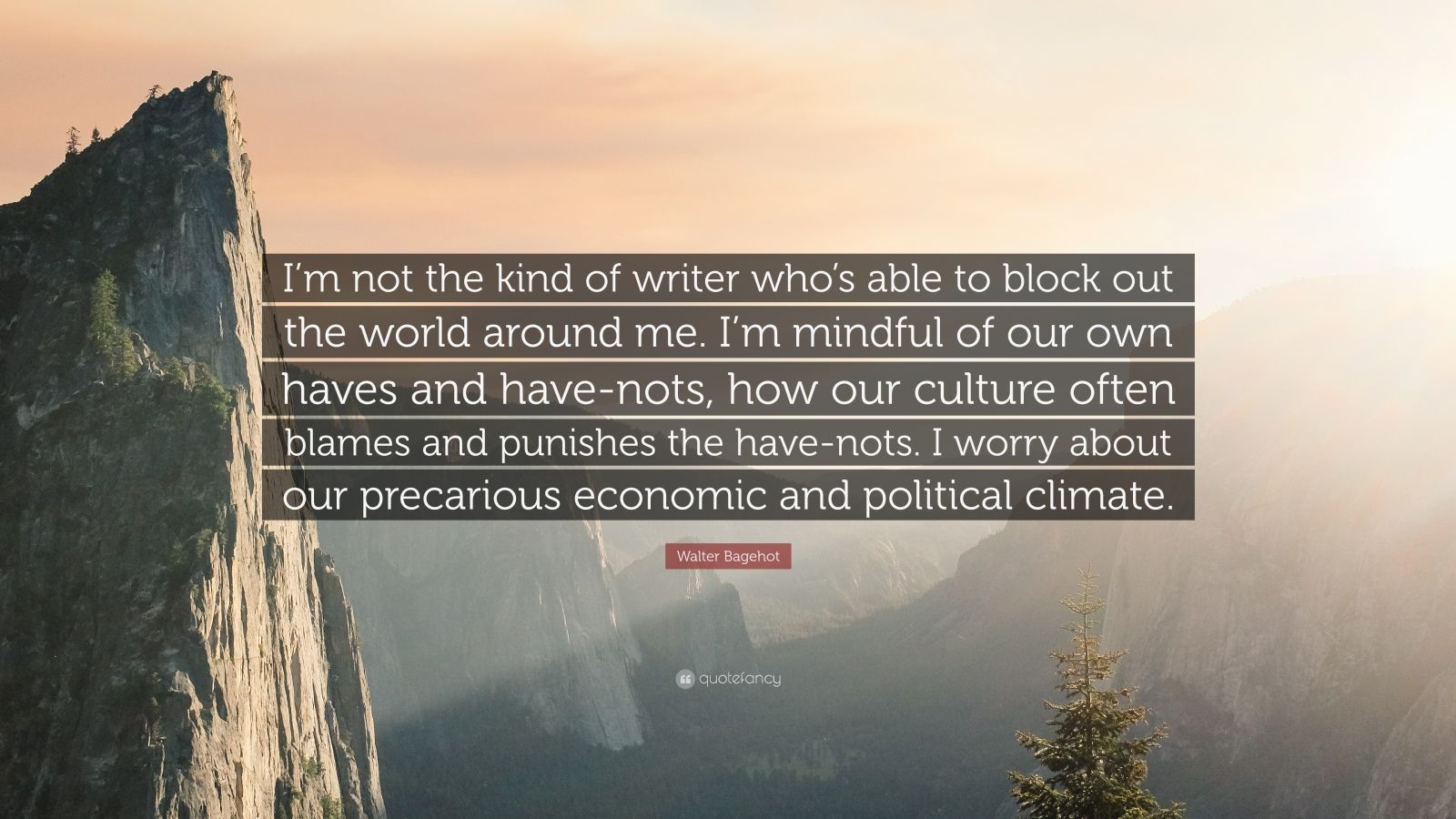"Walter Bagehot Quote: ""I'm not the kind of writer who's able to block out the world around me. I'm mindful of our own haves and have-nots, how our culture often blames and punishes the have-nots. I worry about our precarious economic and political climate."""
