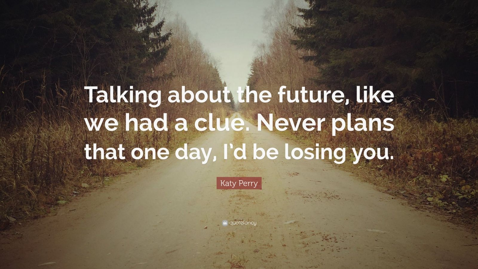 "Katy Perry Quote: ""Talking about the future, like we had a clue. Never plans that one day, I'd be losing you."""