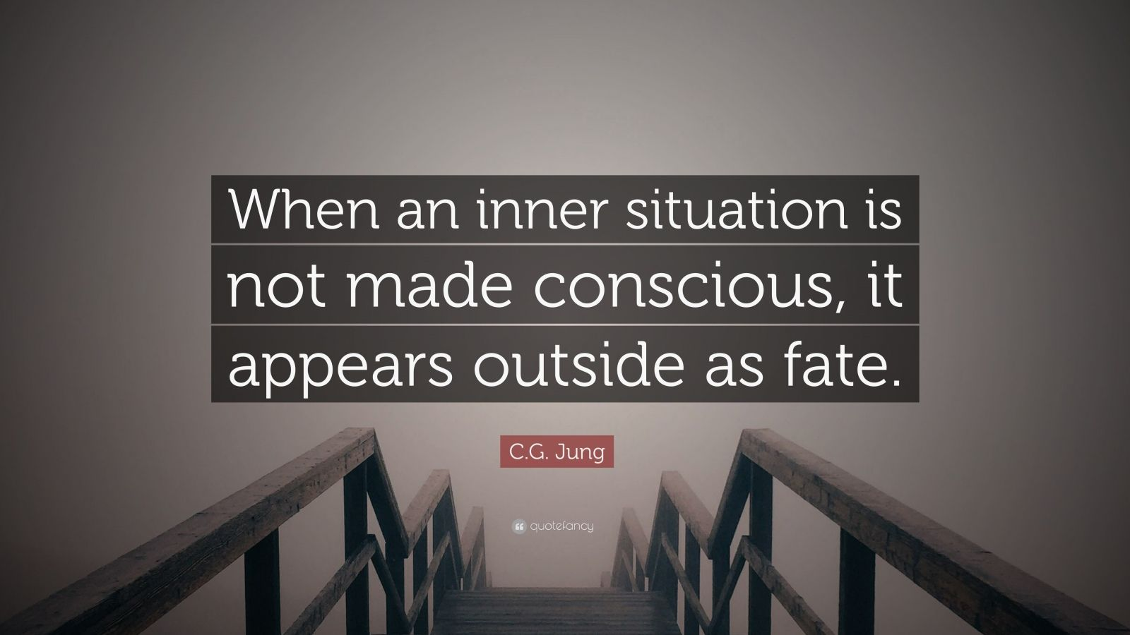 "C.G. Jung Quote: ""When an inner situation is not made conscious, it appears outside as fate."""