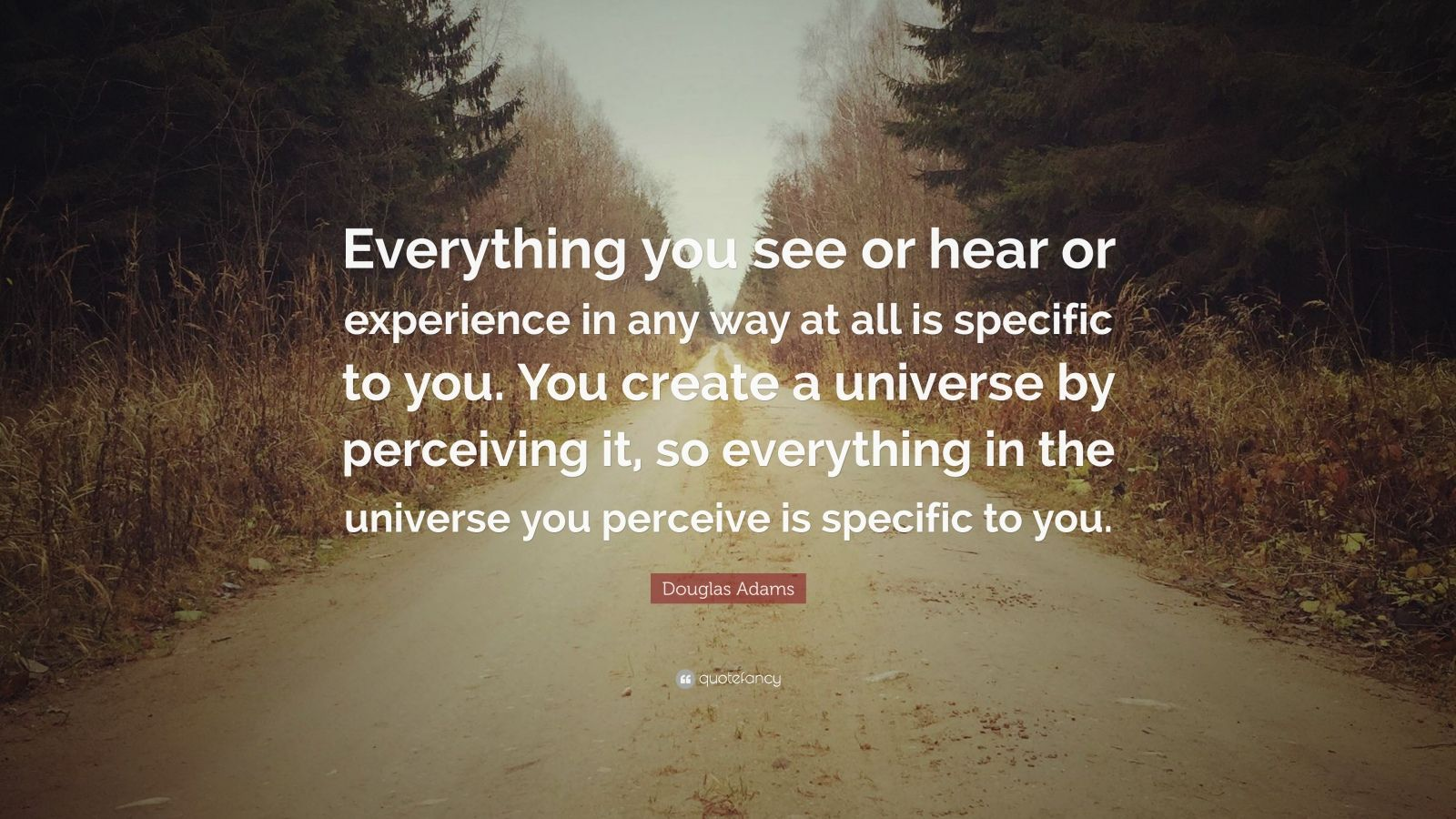 "Douglas Adams Quote: ""Everything you see or hear or experience in any way at all is specific to you. You create a universe by perceiving it, so everything in the universe you perceive is specific to you."""