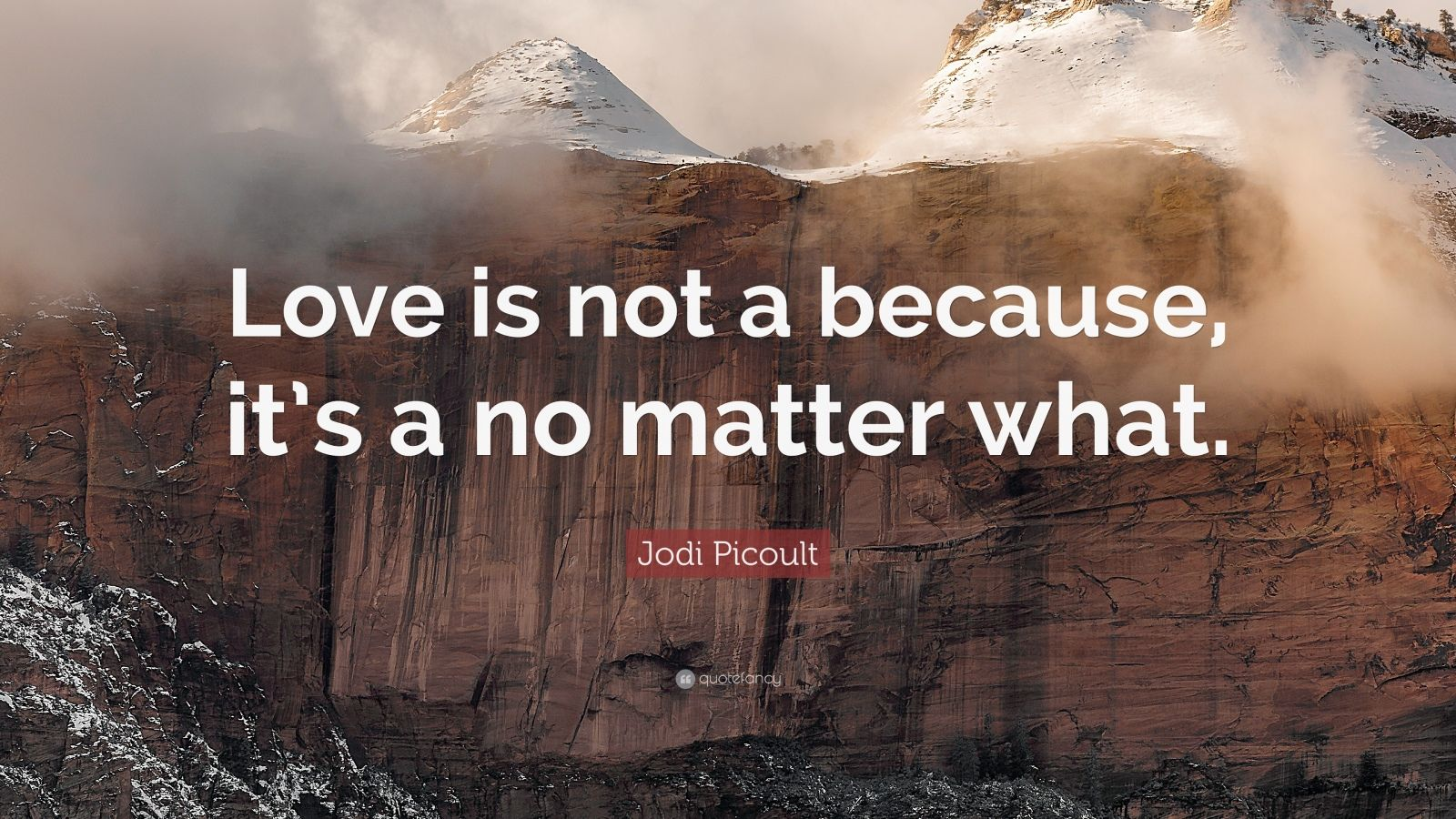 """Jodi Picoult Quote: """"Love is not a because, it's a no matter what."""""""