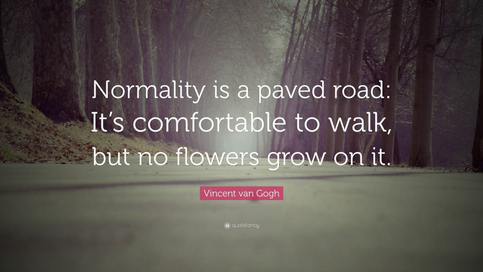 """Vincent van Gogh Quote: """"Normality is a paved road: It's comfortable to walk, but no flowers grow on it."""""""