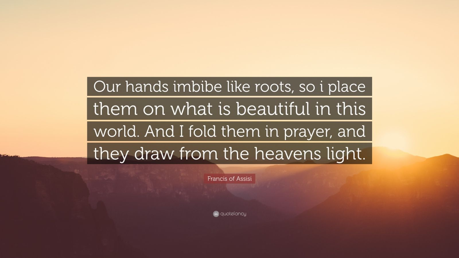 """Francis of Assisi Quote: """"Our hands imbibe like roots, so i place them on what is beautiful in this world. And I fold them in prayer, and they draw from the heavens light."""""""