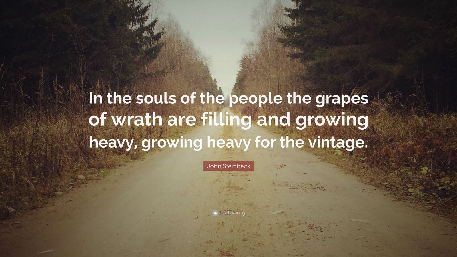 "John Steinbeck Quote: ""In the souls of the people the grapes of wrath are filling and growing heavy, growing heavy for the vintage."""