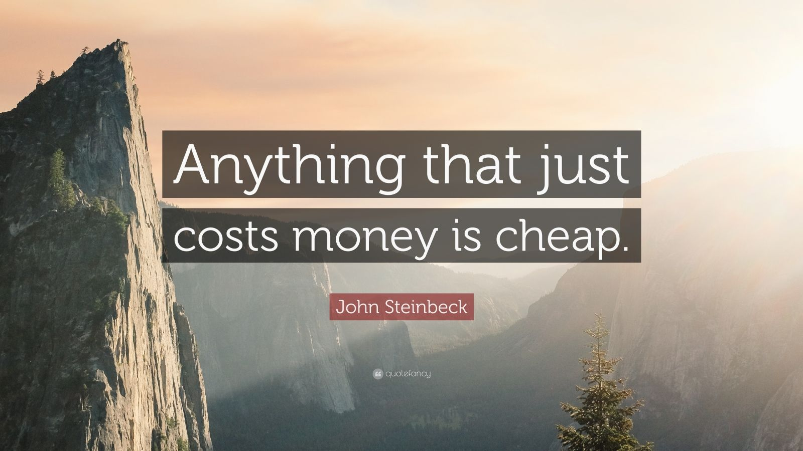 """John Steinbeck Quote: """"Anything that just costs money is cheap."""""""
