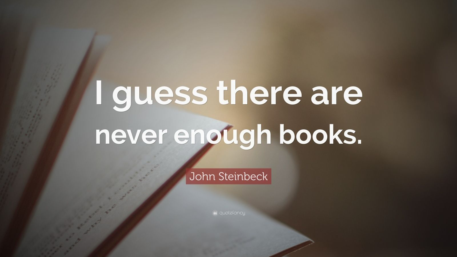 "John Steinbeck Quote: ""I guess there are never enough books."""