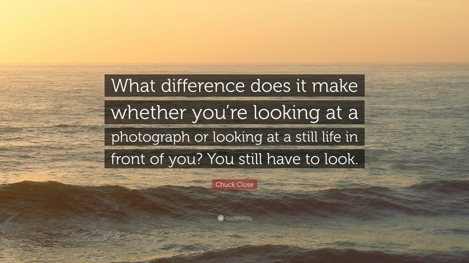 """Chuck Close Quote: """"What difference does it make whether you're looking at a photograph or looking at a still life in front of you? You still have to look."""""""