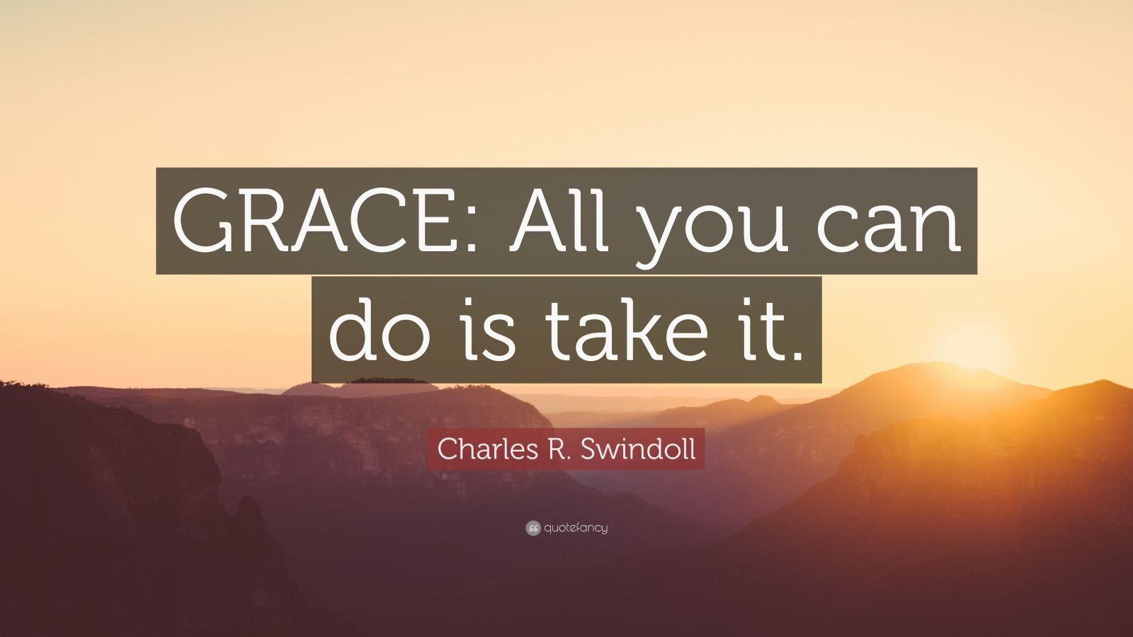 "Charles R. Swindoll Quote: ""GRACE: All you can do is take it."""