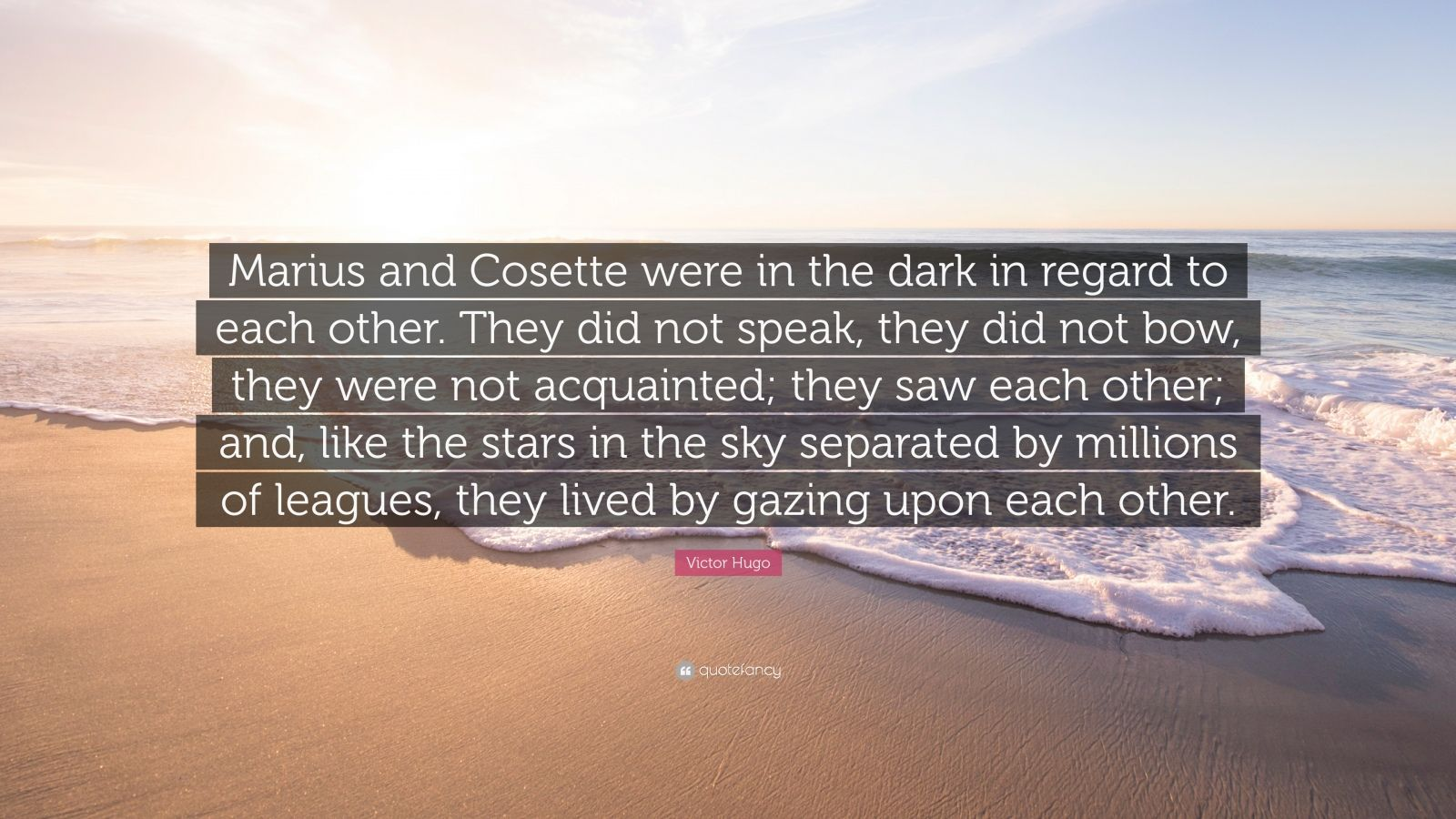 "Victor Hugo Quote: ""Marius and Cosette were in the dark in regard to each other. They did not speak, they did not bow, they were not acquainted; they saw each other; and, like the stars in the sky separated by millions of leagues, they lived by gazing upon each other."""
