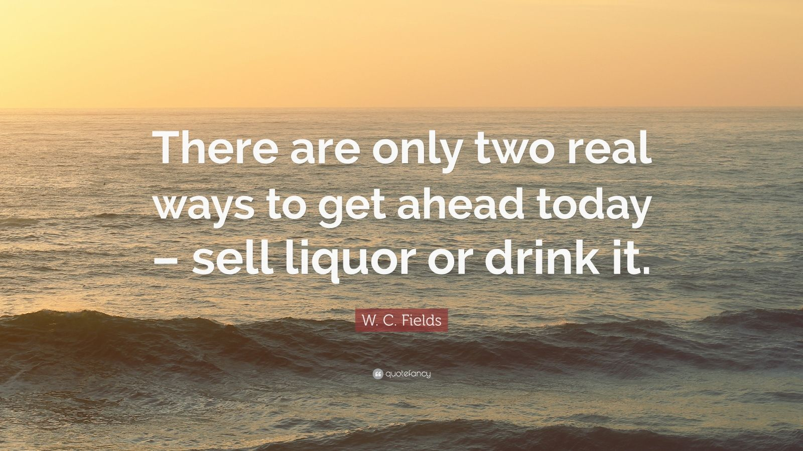 "W. C. Fields Quote: ""There are only two real ways to get ahead today – sell liquor or drink it."""
