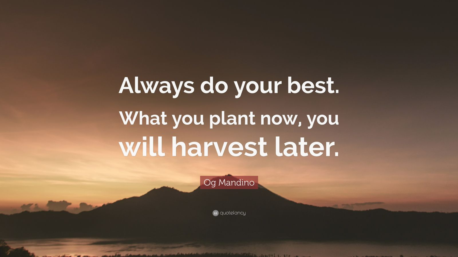 "Og Mandino Quote: ""Always Do Your Best. What You Plant Now"