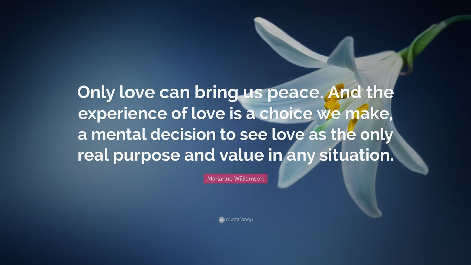 "Marianne Williamson Quote: ""Only love can bring us peace. And the experience of love is a choice we make, a mental decision to see love as the only real purpose and value in any situation."""