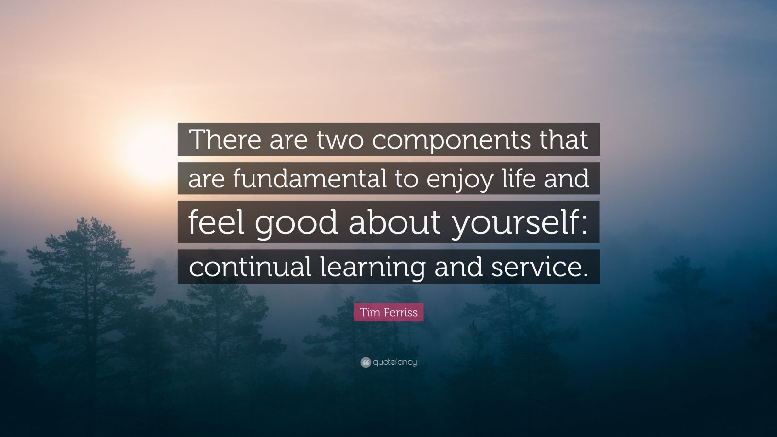"Tim Ferriss Quote: ""There are two components that are fundamental to enjoy life and feel good about yourself: continual learning and service."""