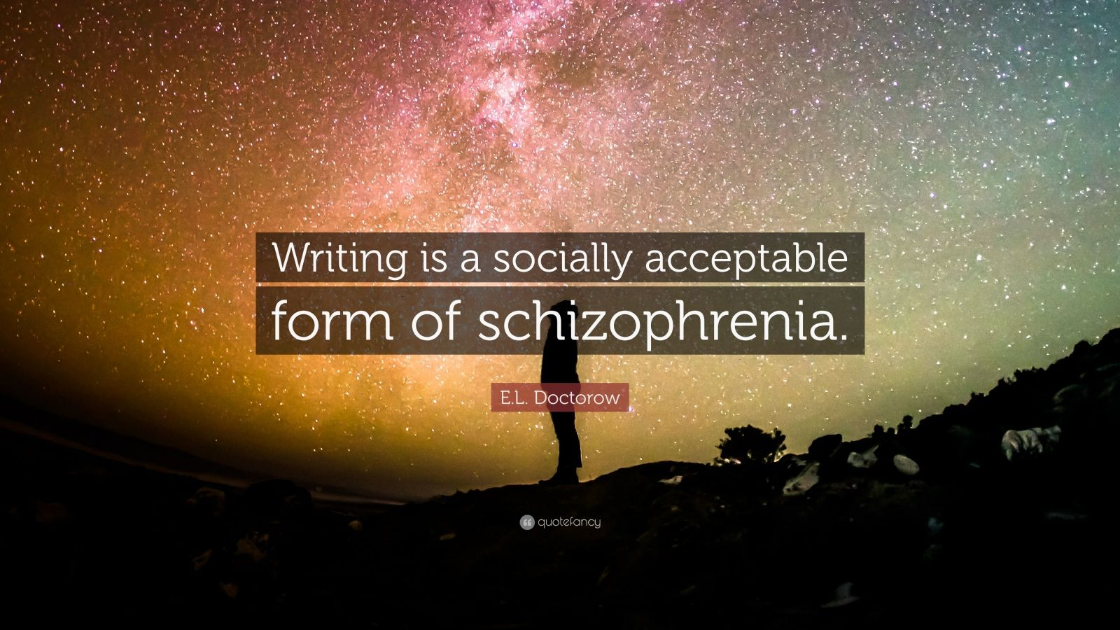 "E. L. Doctorow Quote: ""Writing is a socially acceptable form of schizophrenia."""